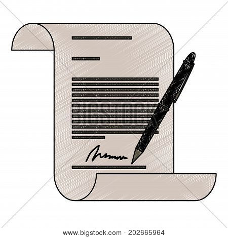 continuously sheet contract document firm and pen in pencils colored silhouette vector illustration