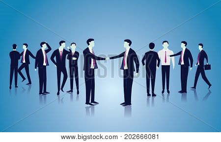 Business Global Communication Concept. Businessmen Speaking. Vector