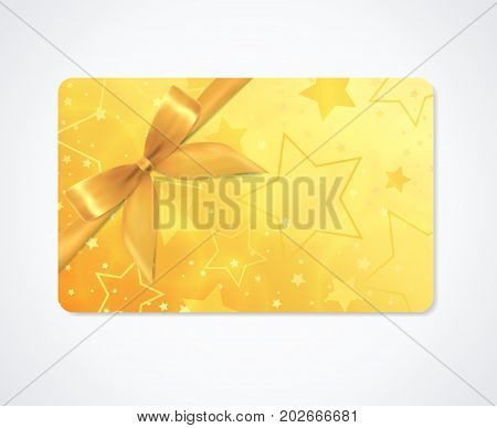 Gift card, Gift coupon, (discount, gift voucher) withsparkling, twinkling stars pattern  (texture). Holiday background design for invitation, ticket. Vector