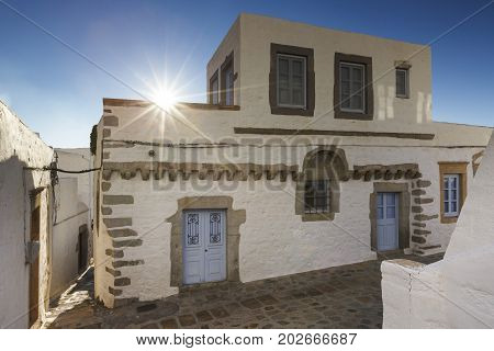 White architecture of Chora village on Patmos island in Greece.