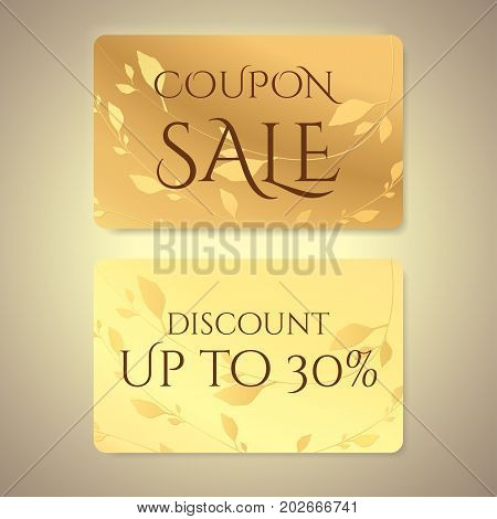 Gift coupon, gift card (discount card, gift voucher) with floral (leaf branch) gold pattern. Holiday background design for invitation, ticket. Vector