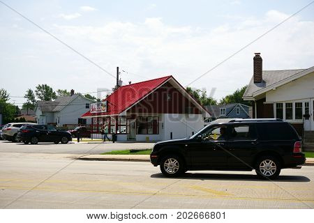 JOLIET, ILLINOIS / UNITED STATES - JULY 20, 2017: One may buy hot dogs and Polish sausages at Joe's Hot Dog Stand.