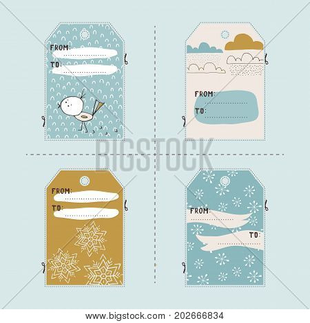 Vector set of winter gift tag templates. Printable collection for Christmas and New Year holidays. For greeting cards, tags and labels, souvenirs, gifts decoration and sales design, scrapbooking.