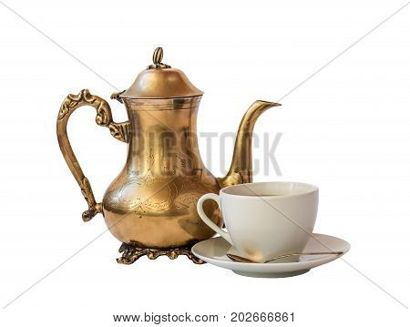 Cup of coffee and coffee pot isolated on white background