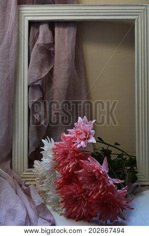 chrysanthemums, flowers, bouquet, bouquet of chrysanthemums, festive bouquet, celebration, colorful bouquet, colorful flowers, bright, cheerful,beads, pearls, vintage, frame, Bohemian, boho, still life, romance, romantic, background, vintage, pattern, dec