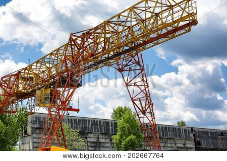 Crane on the territory of concrete batching plant