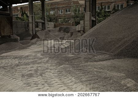 Gravel chippings on the territory of concrete batching plant