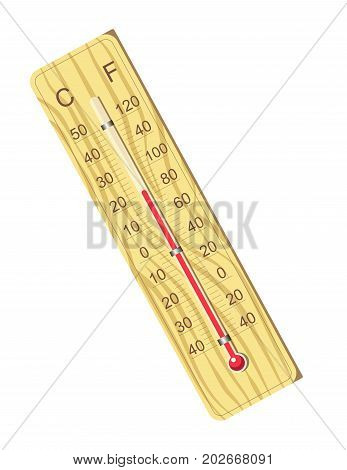 Wooden thermometer for air temperature measurement isolated vector illustration on white background. Compact device with mercury column that raises together with heat and numeric symbols beside.