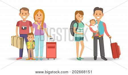 Family with bags and suitcases ready for journey. Man with camera, red head woman, little boy with rucksack, wife in striped dress and husband that holds baby in arms isolated vector illustrations.