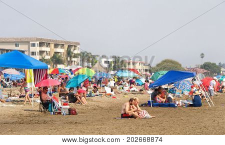 Alameda CA - September 03 2017: Rare heat wave bakes San Francisco. As record triple digit heat hits the Bay Area people flock to the beaches to try and stay cool.