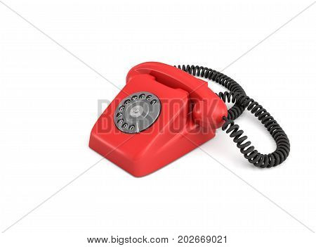 3d rendering of an old-fashioned rotary phone isolated on white background. Emergency number. Red phone. Secure line.