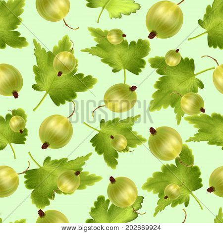 Beautiful seamless pattern with 3d realistic green gooseberry on a green background. Seamless pattern with 3d mesh green gooseberry. Vector illustration.