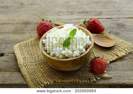 cottage cheese in a wooden bowl, rustic style