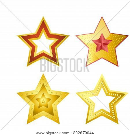 Shiny bright five-pointed stars of several designs with smooth surface, red outline, pink core, empty center and small patterns isolated cartoon flat vector illustrations set on white background.