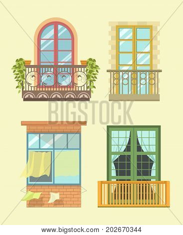 Nice tall broad windows in European style with small cozy balconies, beautiful greenery, light curtains and ropes for laundry isolated cartoon flat vector illustrations set on beige background.