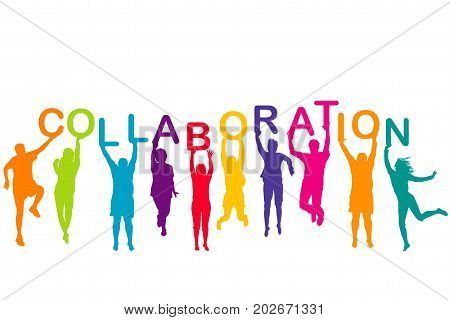 Men and women colorful silhouettes holding word COLLABORATION in their hands