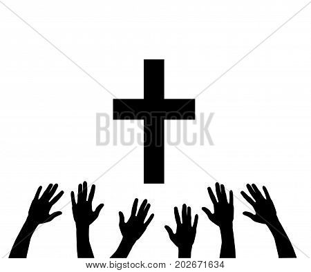 vector illustration of praying hands and cross.