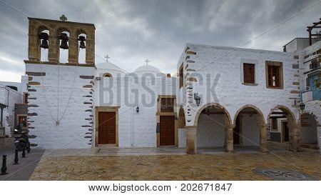 Church in Skala village on Patmos island in Greece.