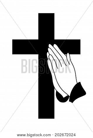 vector illustration of praying hands and cross icon