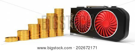 video card and golden bitcoin coins. 3d illustration. suitable for bitcoin and other mining themes.