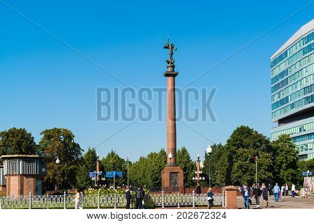 Moscow, Russia - August 31. 2017. Trubnaia area and a monument to the dead policemen