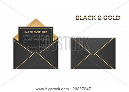 Vector opened and closed black and gold envelopes. Isolated on transparent background mockup template of black paper envelope with gold for business letter, advertisement, invitation cards or money.