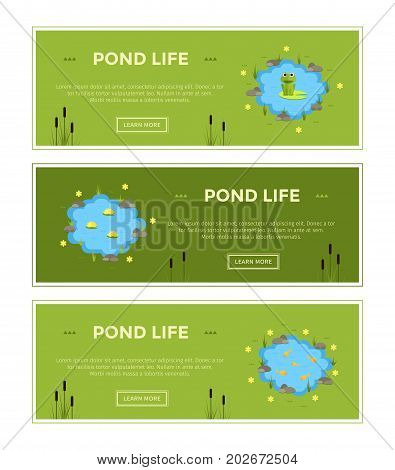 Cartoon vector garden pond advertisment banners with water, plants and animals. Isolated summer pond life clipart in flat style.