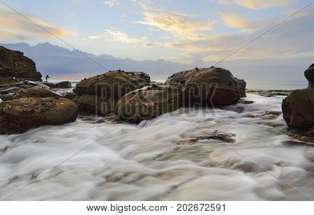 Strong Foreground Rock Flows At Wollongong