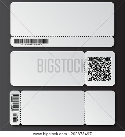 White Ticket Template With Tear-off Element, Barcode And Qr Code Isolated On Transparent Background.