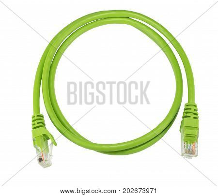Twisted pair green network cable isolated on white background