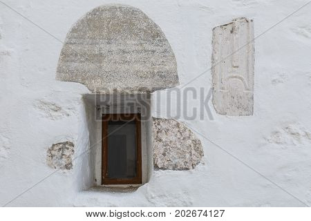 Architectural detail of a building in Skala village on Patmos island in Greece.