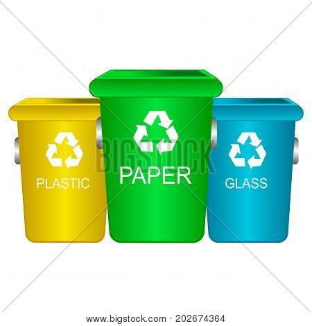 Colorful recycle trash bins isolated white vector. Big containers for recycling waste sorting plastic glass paper.