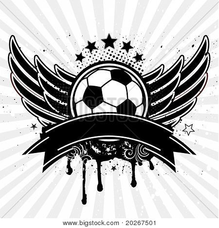 vector soccer ball and wing