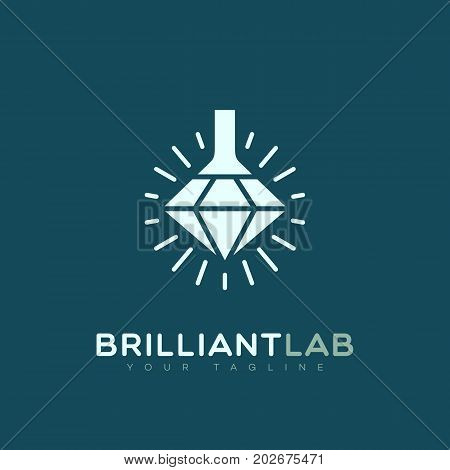 Brilliant lab logo template design. Vector illustration.