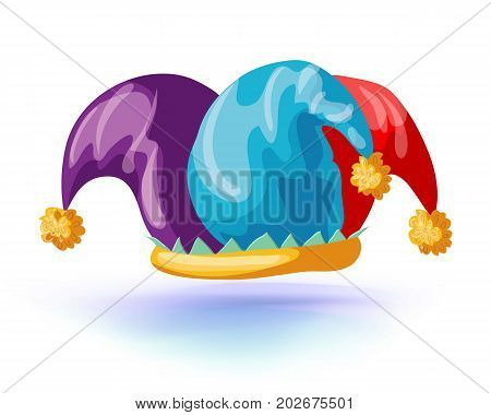 fools hat isolated icon. jester cap. Vector illustration. Masquerade or carnival costume headdress