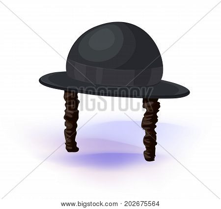 black cylinder hat. Orthodox jewish hat with sideburns. Judaism symbols Vector illustration. Masquerade or carnival costume headdress