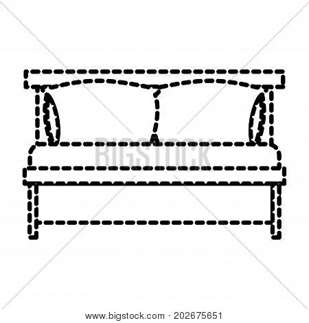 bed wooden with pillows dotted silhouette on white background vector illustration