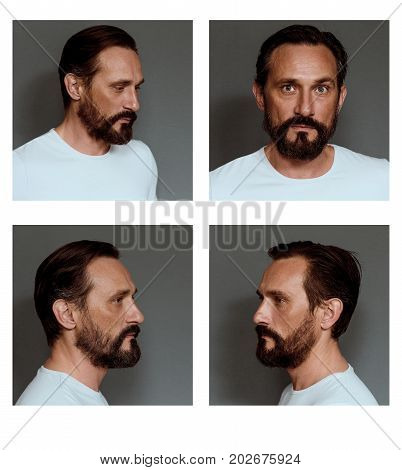 Collage of an actor showing different emotions. Mid aged beardy male posing on grey background.