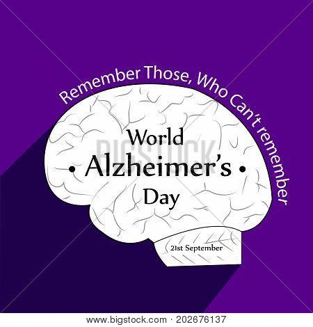 illustration of brain and World Alzheimer's Day text on the occasion of World Alzheimer's Day