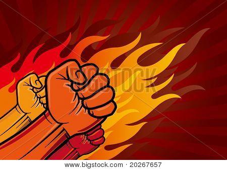 vector illustration of revolution fist