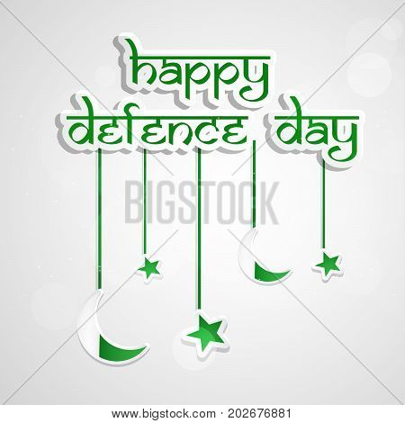 illustration of happy Defence Day text with hanging stars and moon on the occasion of Pakistan defence day