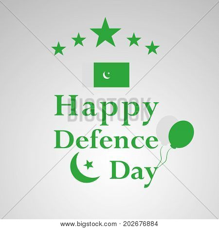 illustration of stars and balloons with happy Defence Day text on the occasion of Pakistan defence day