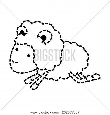 sheep animal jumping dotted silhouette on white background vector illustration