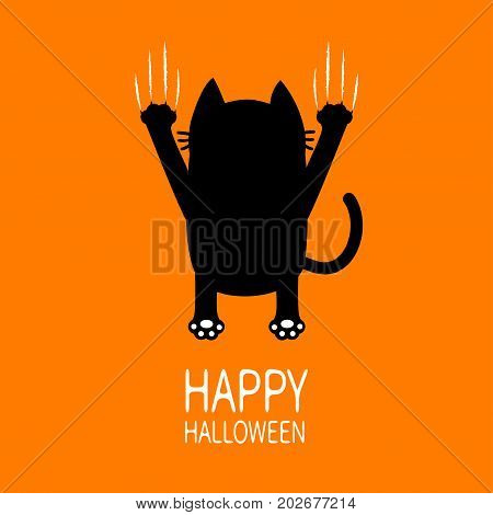 Happy Halloween Greeting card. Cartoon black cat. Back view. Red bloody claws animal scratch scrape track. Cute funny character. Orange background. Isolated. Flat design. Vector illustration