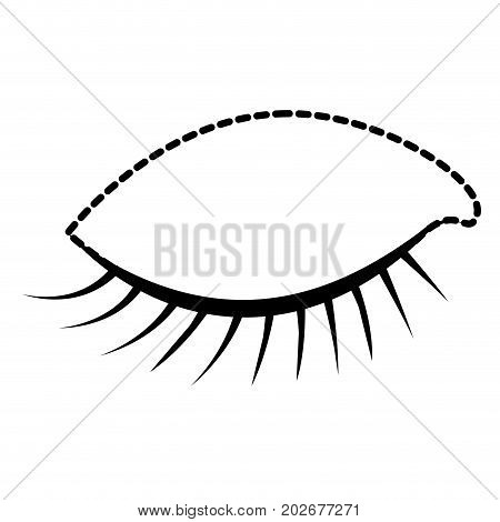 eye closed female closeup dotted silhouette on white background vector illustration