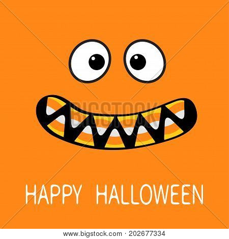 Happy Halloween. Scary monster face emotions. Vampire tooth fang. Big eyes mouth with candy corn teeth. Baby Greeting card. Flat design style . Orange background. Vector illustration