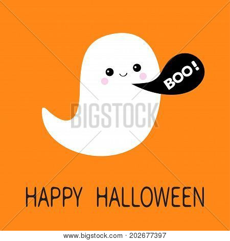 Flying ghost spirit. Black talking bubble Boo Happy Halloween. Scary white ghosts. Cute cartoon spooky character. Smiling face. Orange background. Greeting card Isolated. Flat design. Vector