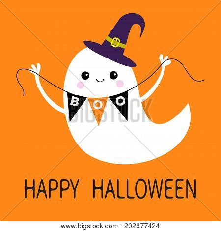 Flying ghost spirit holding bunting flag Boo. Witch hat. Happy Halloween. Scary white ghosts. Cute cartoon spooky character. Smiling face hands. Orange background. Greeting card. Flat design. Vector