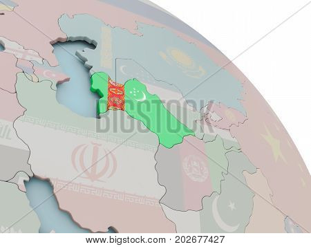 Map Of Turkmenistan With Flag
