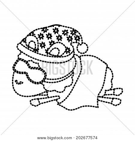 sheep animal with sleeping cap and sleep mask wrapped in a blanket dotted silhouette on white background vector illustration